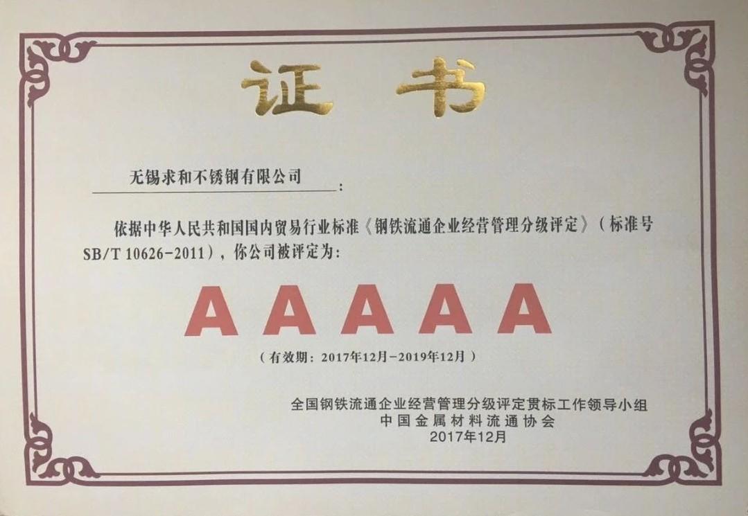 【喜讯】恭贺求和不锈钢荣获AAAAA级企业